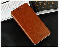 Кожаный чехол книжка Mofi для Lenovo A606 коричневый