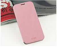 Кожаный чехол книжка Mofi для Huawei Honor 3C розовый