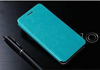 Кожаный чехол книжка Mofi для Huawei Honor 6 голубой