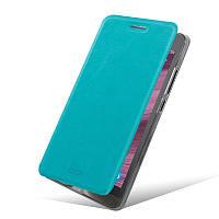 Кожаный чехол книжка Mofi для Asus Zenfone 6 голубой