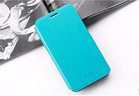 Кожаный чехол книжка Mofi для Huawei Ascend Y330-U11 голубой