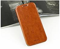 Кожаный чехол книжка Mofi для Huawei Ascend Mate7 коричневый