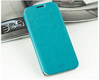 Кожаный чехол книжка Mofi для Huawei Ascend Mate7 голубой