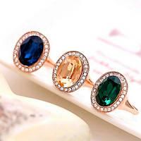 Роскошное кольцо-перстень со сверкающим зеленым фианитом 16 размер, фото 1