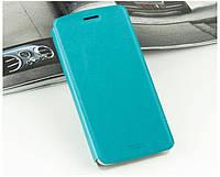 Кожаный чехол книжка Mofi для Motorola Google Nexus 6 голубой