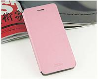 Кожаный чехол книжка Mofi для Xiaomi Redmi Note розовый