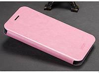 Кожаный чехол книжка Mofi для OnePlus One розовый