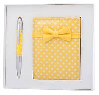 Подарочный набор ручка и зеркало Никс желтый