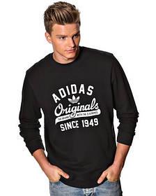 """Мужской Свитшот """"Adidas Originals"""" черный с большим принтом"""