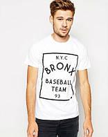 Стильная мужская футболка белая NYC BRONX