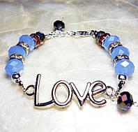 Браслет Loven любовь светло-синие хрустальные бусины