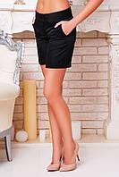 Сильные молодежные длинные шорты из костюмной ткани черного цвета р.S
