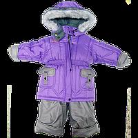 Детский зимний термо комбинезон: штаны на шлейках и куртка на флисе и отстегивающейся овчине, р.80