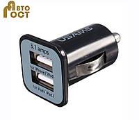 Зарядное устройство для USB кабеля на 2 разъема в автомобиль