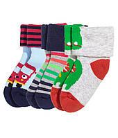 Махровые носочки для мальчика (3 пары) 0-3 месяца