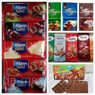 Шоколад шоколадки Allegro, Alpinella, Alpen Gold