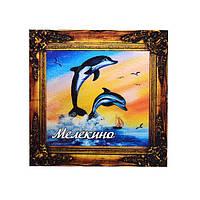 """""""Дельфины 1"""" магнит - картина Мелекино 70х70 мм"""