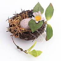 """Изделие декоративное 9 см. """"Гнездо с пасхальными яйцами"""""""