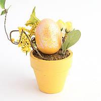 """Фигурка """"Пасхальное яйцо в горшке с цветами"""" 13 см. жолтая"""