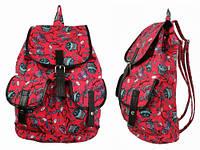 Красный рюкзак для девушки Совы на ветках
