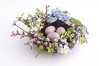 """Изделие декоративное 40 см. """"Гнездо с пасхальными яйцами"""" разноцветное"""