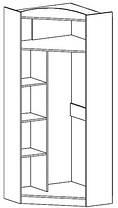Шкаф угловой Дисней 2Д 2180х910х377мм дуб светлый   Мебель-Сервис, фото 2