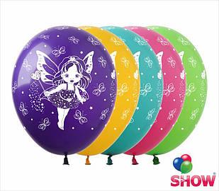"""Латексные воздушные шары с рисунком """"Феи"""", диаметр 12 дюймов (30 см.), печать шелкография 5 сторон, 100 штук"""