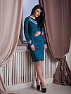 Нарядное женское трикотажное платье с вышивкой