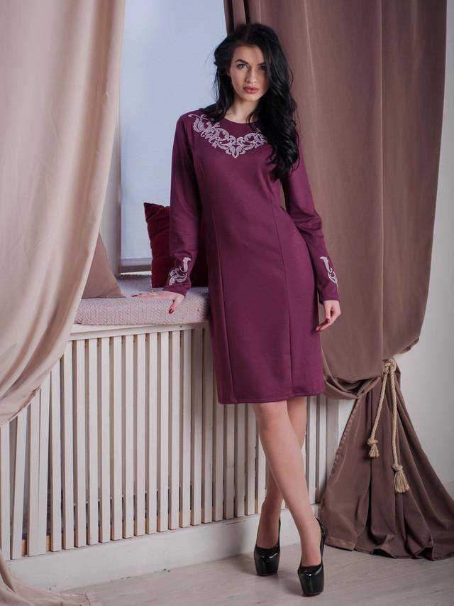 синее платье с вишивкой, стильное вышитое платье, современная вышивка на платье