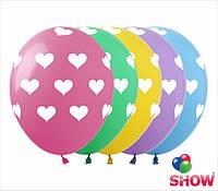 """Латексные воздушные шары с рисунком """"Сердца-горошек"""", диаметр 12 дюймов (30 см.), шелкография 5 сторон 100 шт"""