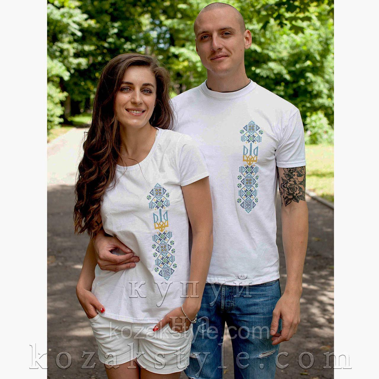 """Біла жіноча футболка з вишивкою """"Тризуб з орнаментом"""" (блакитний орнамент)"""