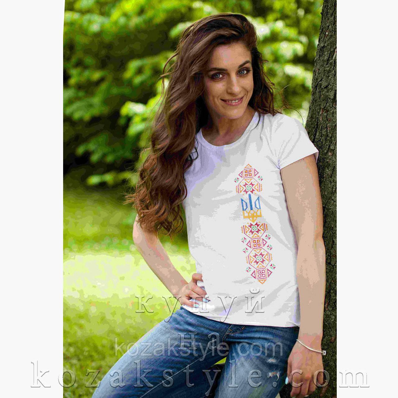Патріотична футболка з вишивкою Тризуб з орнаментом