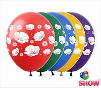 """Латексные воздушные шары с рисунком """"Маки"""", диаметр 12 дюймов (30 см.), печать шелкография 4 стороны, 100 штук"""