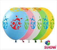 """Латексные воздушные шары с рисунком """"Божья коровка"""", диаметр 12 дюймов (30 см.), шелкография 5 сторон 100 шт"""