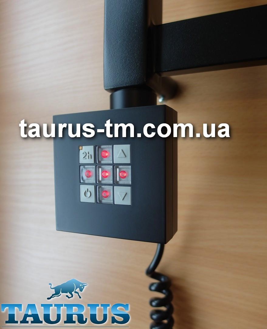 Квадратный черный электроТЭН TERMA KTX2 BLACK с управлением 30-60С + таймер 2 ч. +LED. Мощность 120-1000W. 1/2