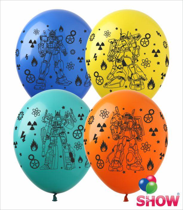 """Латексні повітряні кулі з малюнком """"Роботи"""", діаметр 12 дюймів (30 див), друк, шовкографія 4 сторони, 100 шт"""