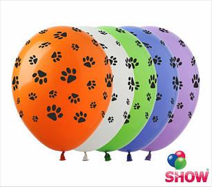 """Латексні повітряні кулі з малюнком """"Лапки"""", діаметр 12 дюймів (30 див), друк, шовкографія 5 сторін, 100 штук"""