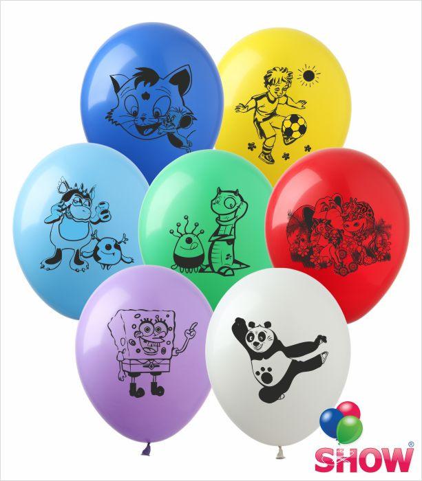 """Латексні повітряні кулі з малюнком """"Мультяшки група 2 асорті"""", діаметр 12 дюймів (30 див), 1 сторона 100шт"""