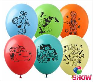 """Латексні повітряні кулі з малюнком """"Мультяшки група 3 асорті для хлопчиків"""", діаметр 12 дюймів(30 см) 100шт"""