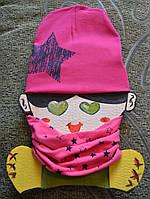 Наборчик малиновый шапка+хомут