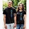 """Пара чорних футболок  з вишивкою """"Тризуб з орнаментом"""" (синє-голубий орнамент)"""