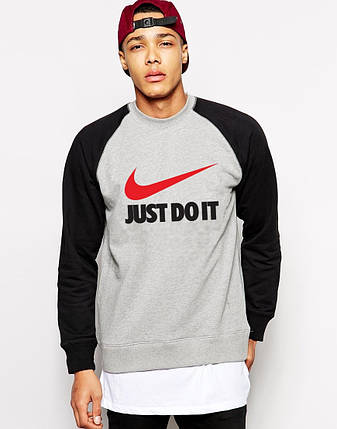 "Мужской Свитшот ""Nike Just do it"" черный рукав, фото 2"