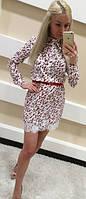 Молодежное платье белого цвета с поясом (арт. 2233055360)
