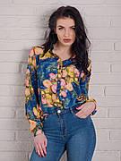 Синяя женская блуза с цветами