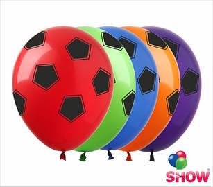 """Латексные воздушные шары с рисунком """"Футбольный мяч ассорти"""", диаметр 12 дюймов (30 см.), 5 сторон, 100 шт."""
