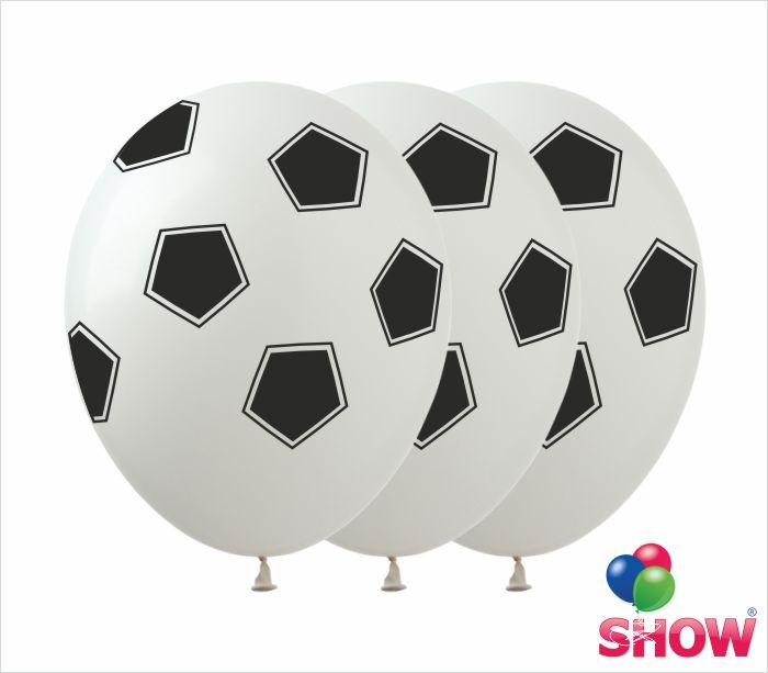 """Латексні повітряні кулі з малюнком """"Футбольний м'яч білий"""", діаметр 12 дюймів (30 див), 5 сторін, 100 шт."""