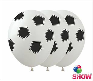 """Латексные воздушные шары с рисунком """"Футбольный мяч белый"""", диаметр 12 дюймов (30 см.), 5 сторон, 100 шт."""