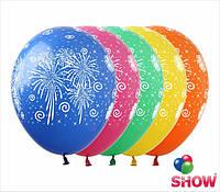 """Латексные воздушные шары с рисунком """"Фейерверк"""", диаметр 12 дюймов (30 см.),печать шелкография 5 сторон,100шт"""