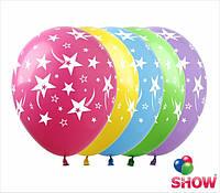 """Латексные воздушные шары с рисунком """"Звезды и кометы"""", диаметр 12 дюймов (30 см.), шелкография 5 сторон, 100шт"""