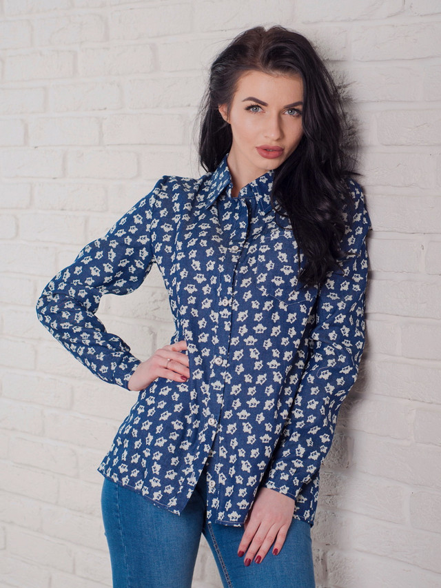 стильная джинсовая женская рубашка, молодежная джинсовая рубашка